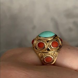 Jewelry - One of a kind turquoise and coral solid 14k ring